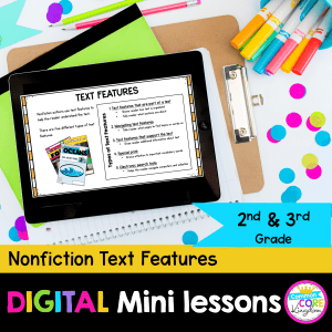 RI.2.5&3.5 Nonfiction text features digital mini lesson cover showing use of digital resource in Google Slides on an iPad