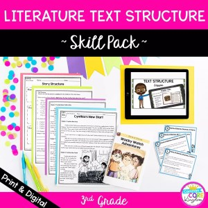 Literature text structure skill pack cover showing digital and printable 3rd grade reading resources aligned to RL.3.5