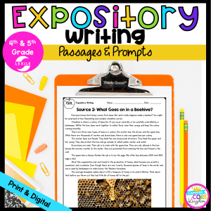 Expository Writing: Passages and Prompts for 4th & 5th Grade cover showing a reading passage available in digital and printable formats