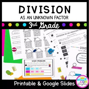 Division as an Unknown Factor for 3rd grades. Printable and Google Slides
