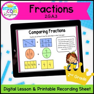 Fractions for 2nd Grade Digital Mini Lessons 2.G.A.3