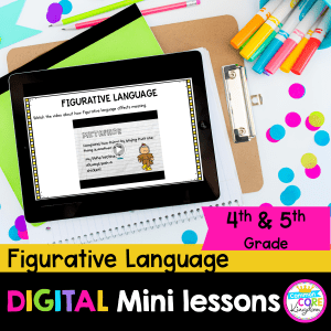 Digital Lessons Figurative Language for 4th & 5th Grade RL.4.4 RL.5.4