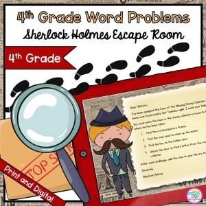 Sherlock Holmes Math Word Problem Escape Room for 4th Grade in Google Slides & Printable Format