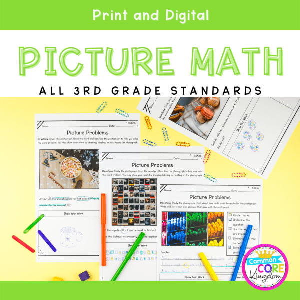 3rd Grade Math Picture Problems in Google Slides & Printable