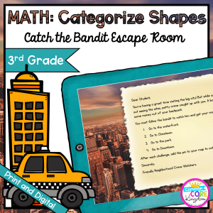 Catch the Bandit Geometry Escape Room for 3rd Grade in Google Slides & Printable Format
