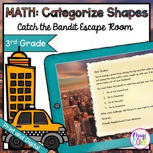 Categorize Shapes Geometry Escape Room - Google Slides & Printable - 3rd Grade
