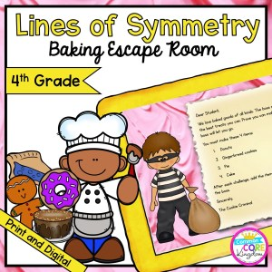 Lines of Symmetry Math Escape Room for 4th Grade in Google Slides & Printable Format