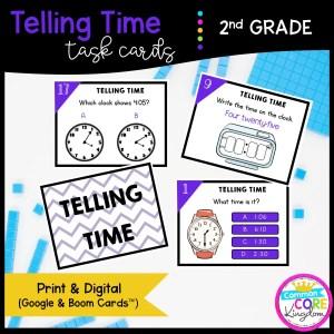 Telling Time Task Cards - 2nd Grade Math - Print, Slides, & Boom Formats