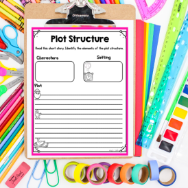 Teaching plot stucture anchor chart on clipboard with flatlay background
