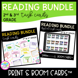 Reading Task Card Bundle- Print and Boom Learning 2nd and 3rd Grade