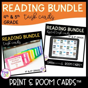 Reading Task Card Bundle - Print and Boom Learning 4th and 5th Grade