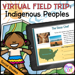 """Virtual Field Trip to learn more about the Indigenous Peoples, a tablet showing a preview of """"The Sioux Chef"""""""