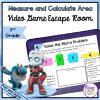 Measure & Calculate Area 3rd Grade Math Video Game Escape Room - Print & Digital