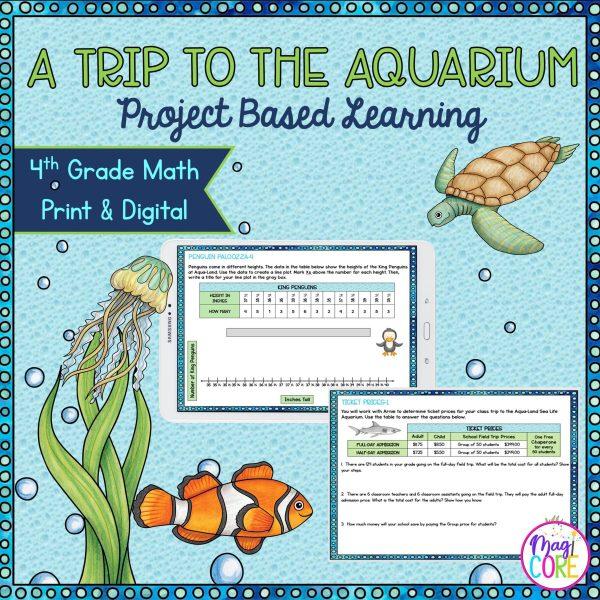 Trip to the Aquarium - Project Based Learning - 4th Grade Math - Print & Digital