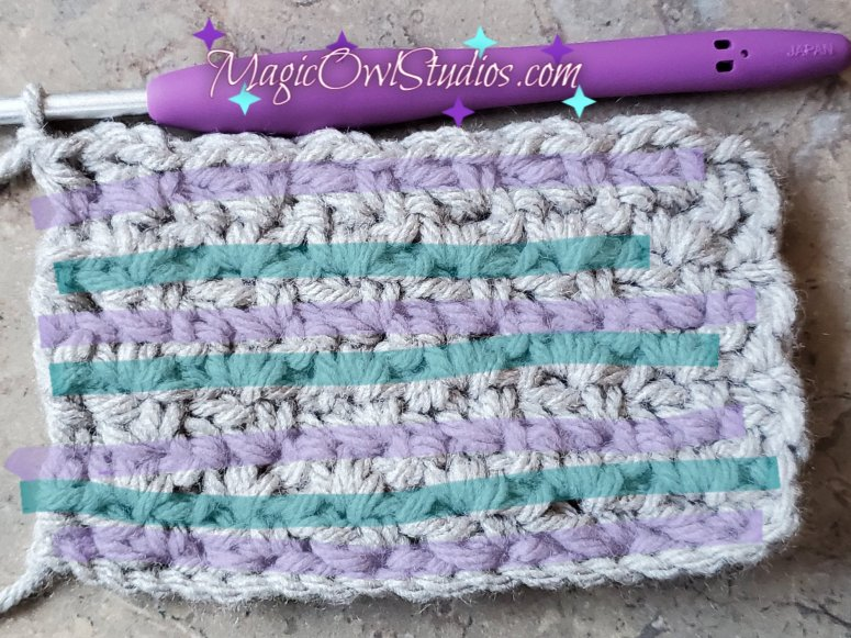 how to tell the different rows of the wattle stitch