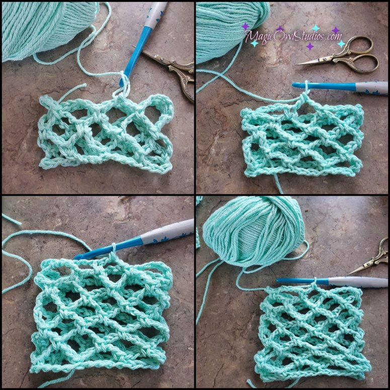 rounds 3-8 of the diamond mesh stitch in the round