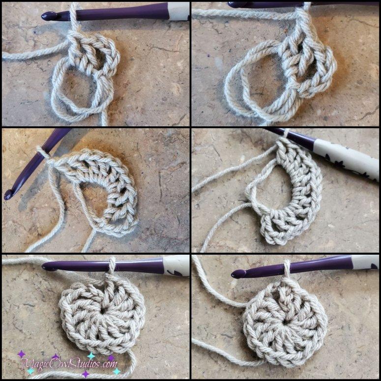 round 1 of the crochet granny hexagon
