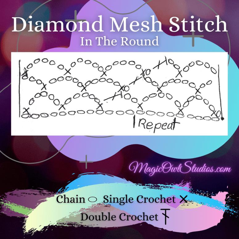 In the round diamond mesh stitch chart