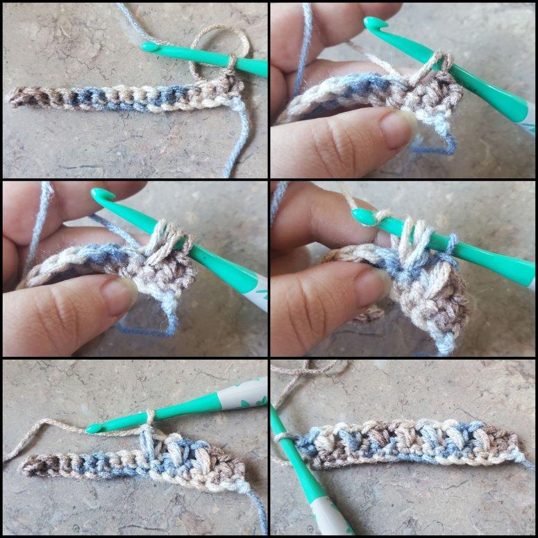 row 2 of the crochet elizabeth stitch