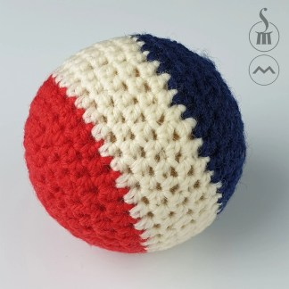 """2"""" Morrissey Crocheted Ball - Red White Blue"""