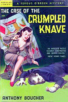 "Couverture de ""The Case of the crumpled knave"" d'Anthony Boucher, Popular library."