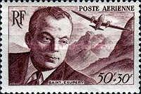 Timbre Français, Poste aérienne, dédié à Antoine de Saint-Exupéry (1900-1944)