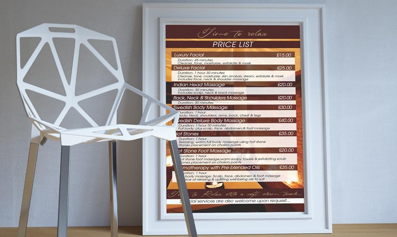 price list poster