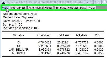langkah Menguji Asumsi Normalitas Model Regresi Berganda di Eviews