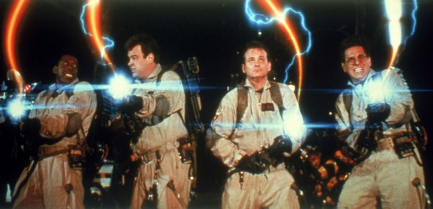 Ernie Hudson, Dan Aykroyd, Bill Murray and Harold Ramis in the movie GHOSTBUSTERS. Credit: Sony Pictures Home Entertainment
