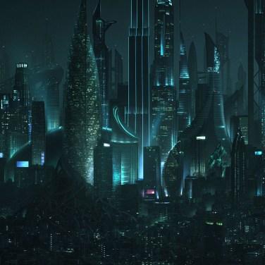Futuristic Los Angeles skyline matte painting created for director Joseph Kahn's dark Mighty Morphing Power Rangers short film