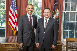 President Barack Obama participates in an Ambassador Credentialing Ceremony with the Ambassador of Romania George Maior in the Oval Office, Sept. 17, 2015. (Official White House Photo by Lawrence Jackson) This photograph is provided by THE WHITE HOUSE as a courtesy and may be printed by the subject(s) in the photograph for personal use only. The photograph may not be manipulated in any way and may not otherwise be reproduced, disseminated or broadcast, without the written permission of the White House Photo Office. This photograph may not be used in any commercial or political materials, advertisements, emails, products, promotions that in any way suggests approval or endorsement of the President, the First Family, or the White House.