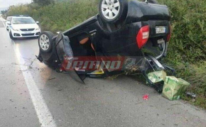 Μητέρα και παιδί εγκλωβίστηκαν σε αυτοκίνητο που ανετράπη