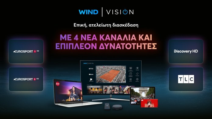 WIND VISION: Νέο περιβάλλον Android TV και περιεχόμενο από Eurosport HD και Discovery HD