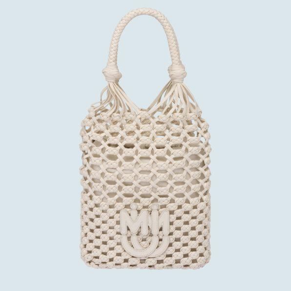 Macramé and nappa leather handbag