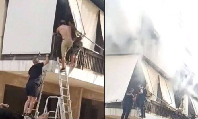 Οι δραματικές στιγμές απεγκλωβισμού ηλικιωμένης από πυρκαγιά (video)