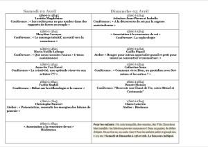 Planning conférences et ateliers