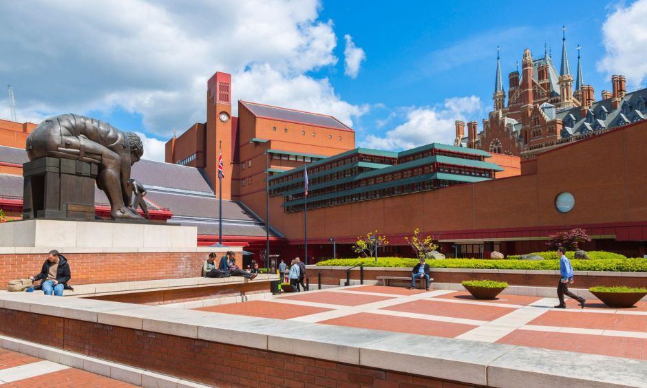 British Library Courtyard sunny study break London students
