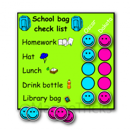 Magnetic school bag check list