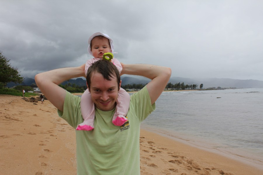 Hawaii with a baby and her footed swim suit