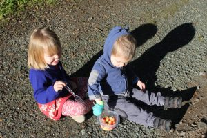 Kids eating on the path