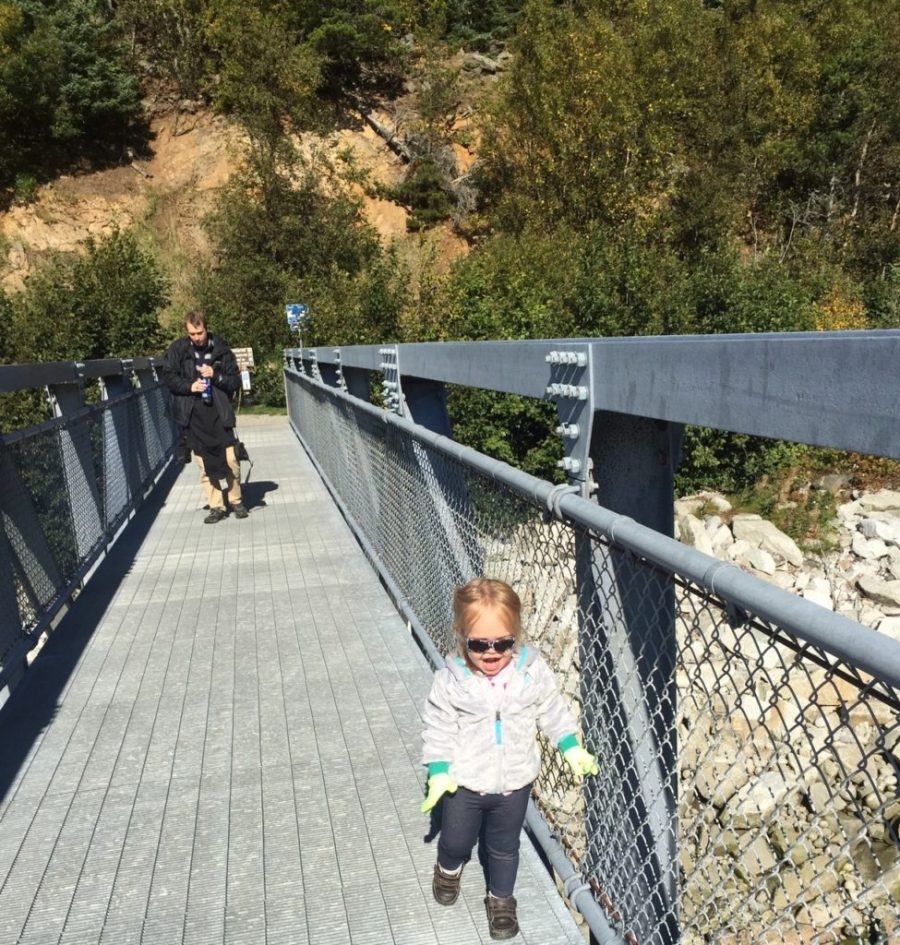 HJ crossing the bridge in Skagway