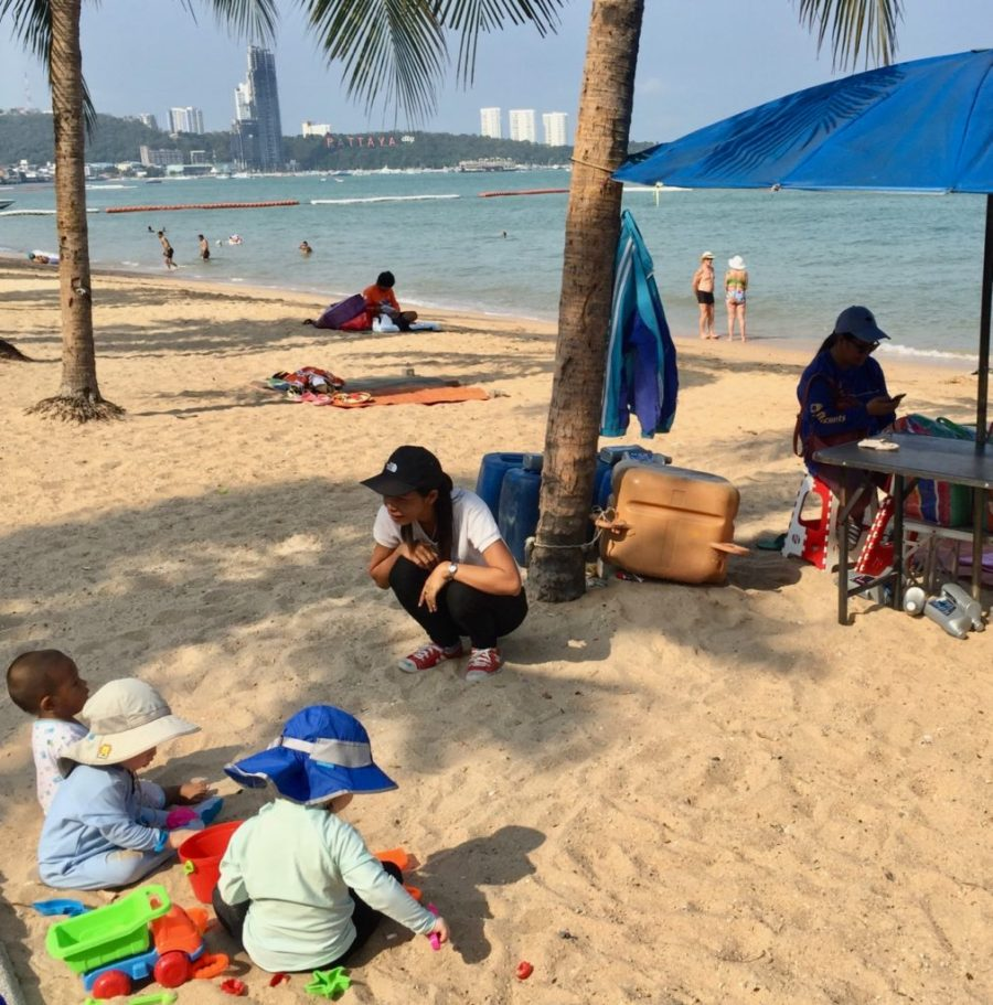 The kids on a Thai beach