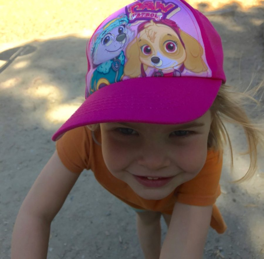 HJ in her Paw Patrol hat