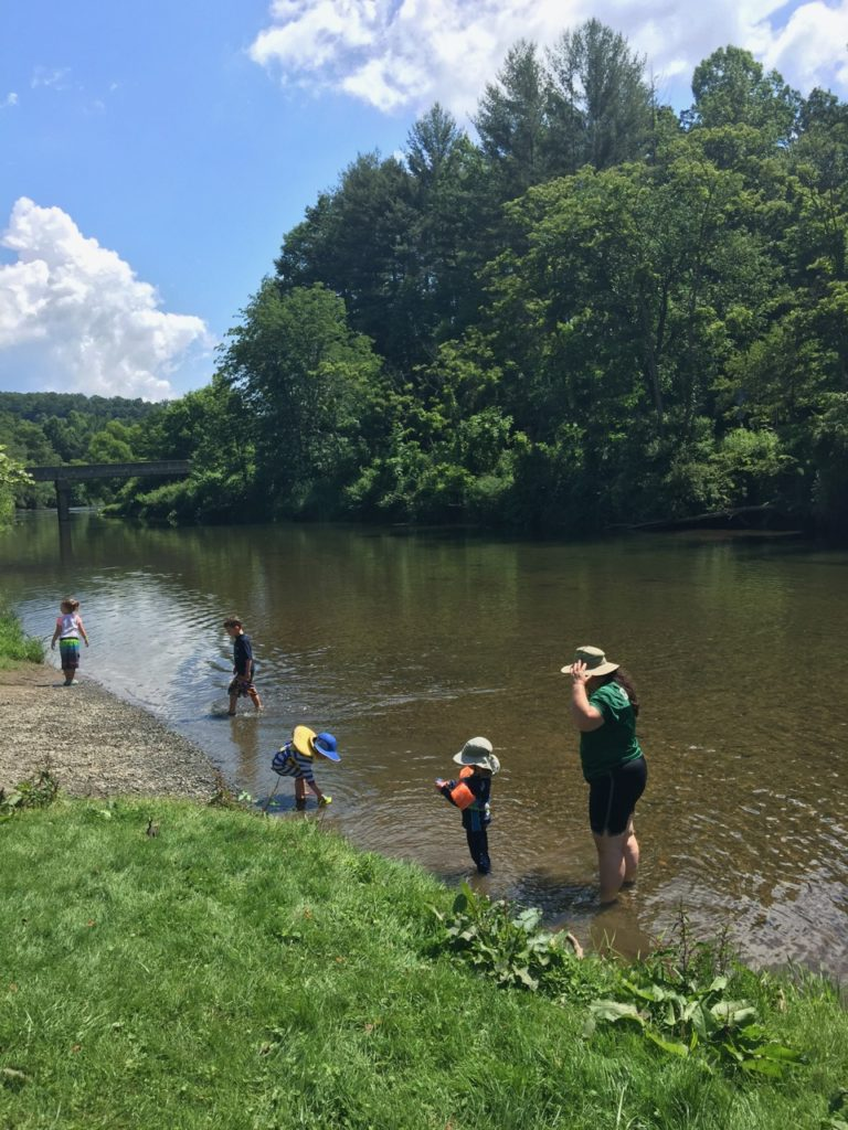 Playing in the New River before Tubing