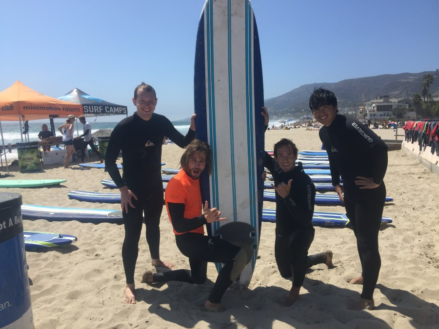 Posing with the surfboard!