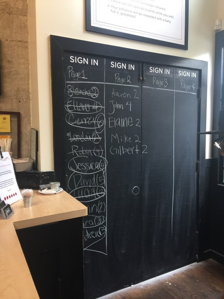 The wait list at a trendy brunch restaurant in San Francisco