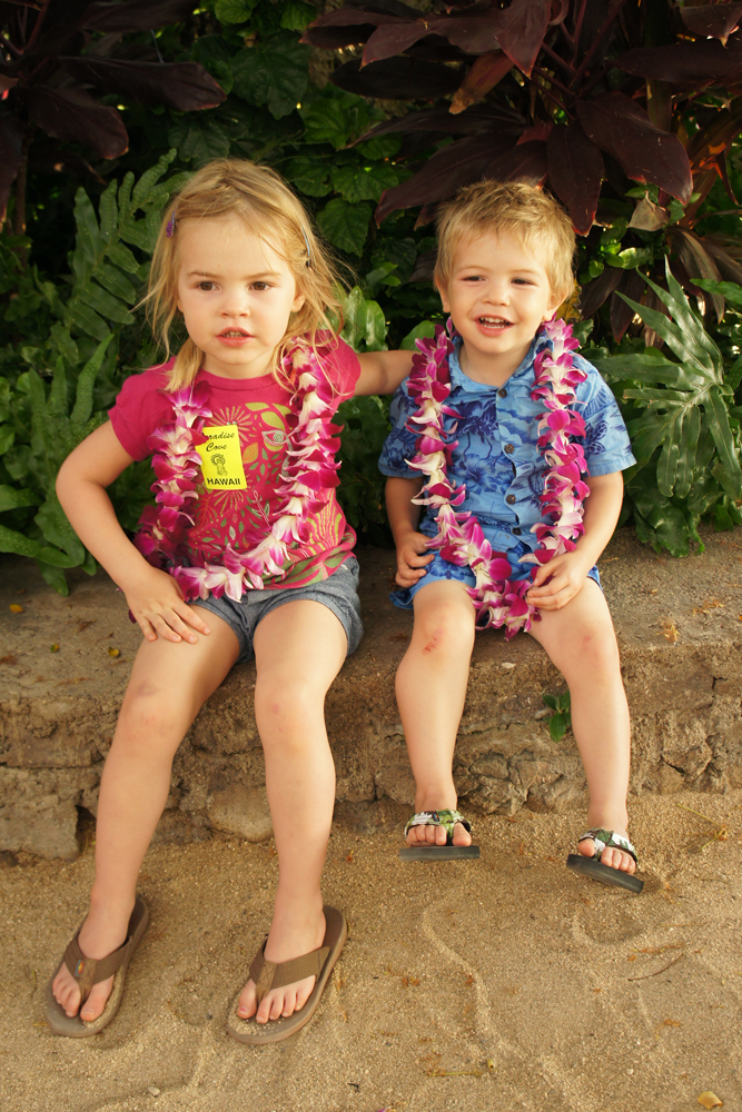 Kids with flower Leis