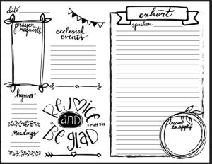 sunday meeting notes template for adults magnify him together
