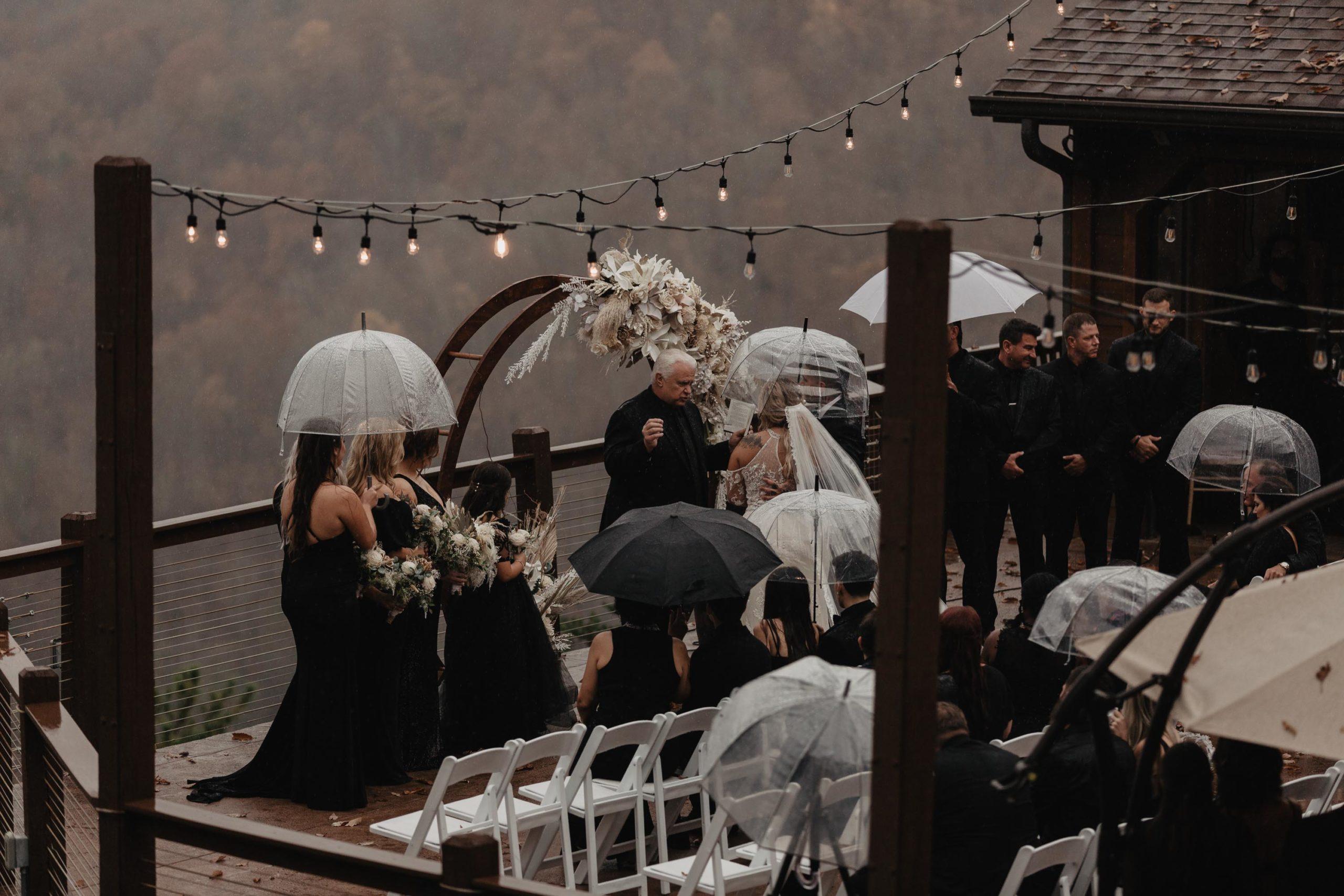 rain storm during wedding ceremony