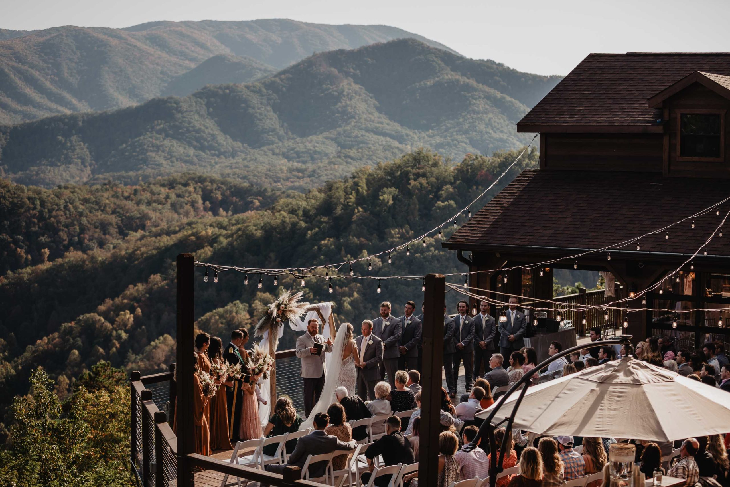 wedding ceremony at mountain top venue